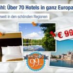 zwei Übernachtungen zu zweit in einem von 79 Hotels in Europa für nur 99€