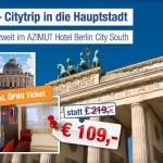 3 Tage Berlin zu zweit im AZIMUT Hotel Berlin City South mit Frühstück für 109€