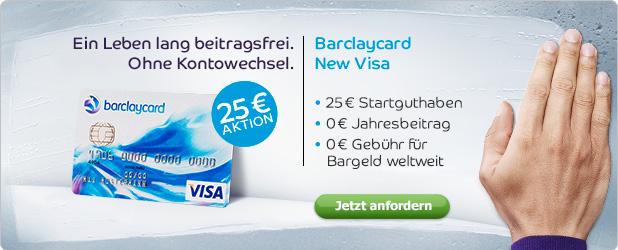 dauerhafte beitragsfreie barclaycard new visa kreditkarte mit 25 willkommensgeschenk. Black Bedroom Furniture Sets. Home Design Ideas