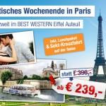 3 Tage Paris zu zweit im 3 Sterne Hotel mit Frühstück und Sekt-Kreuzfahrt auf der Seine für 239€