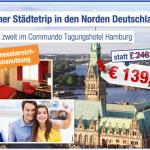 2 Übernachtungen zu zweit im 3 Sterne Commundo Tagungshotel Hamburg inklusive Frühstück für nur 139€