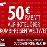 50 Euro ebookers Gutschein für Hotels oder Kombi-Reisen