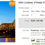 3 Tage Köln zu zweit im 4 Sterne Lindner Hotel City Plaza für 149€