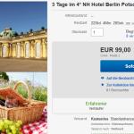 3 Tage zu zweit im 4 Sterne NH Hotel Berlin Postdam mit 2-Gang Menü für 99€