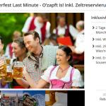 Oktoberfest Lastminute – 2 Tage im 4 Sterne Hotel mit Frühstück, Wies'n Zeltreservierung und 25€ Verzehrgutschein für 89€