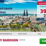 3 Tage Köln zu zweit im 4 Sterne Hotel Park Inn by Radisson Köln City West für nur 39€