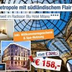 3 Tage zu zweit im 4 Sterne Radisson Blu Hotel Milano mit Frühstück für 143€