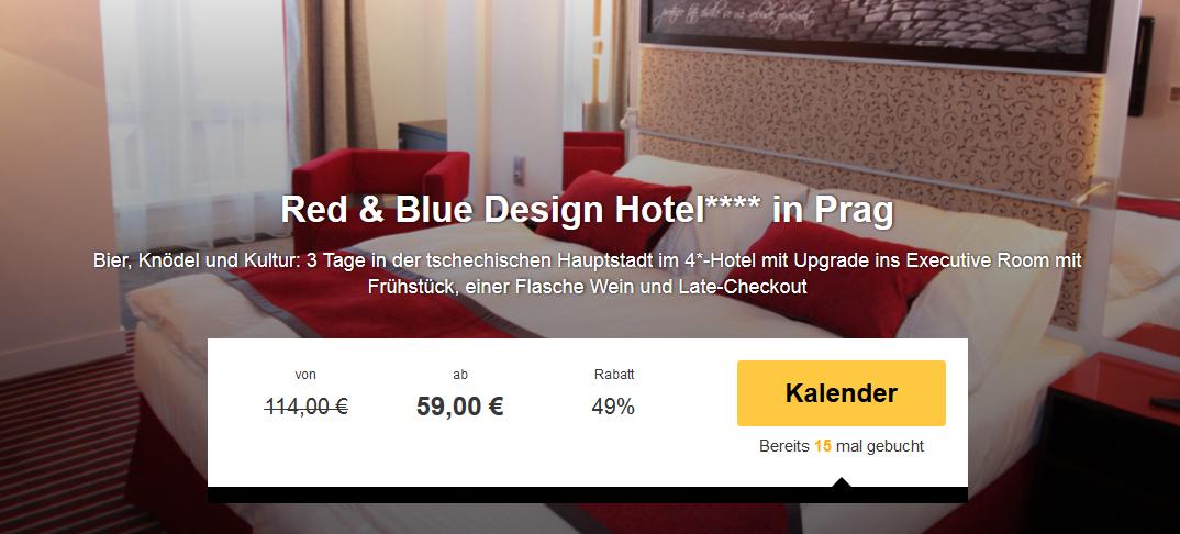 3 tage prag im 4 sterne red blue design hotel mit for Designer hotel prag