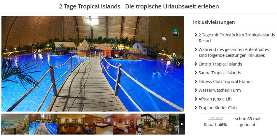 2 tage tropical islands mit bernachtung und fr hst ck f r 79. Black Bedroom Furniture Sets. Home Design Ideas